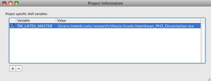 Enabling the LaTeX Master File on Mac OS X (and also some general