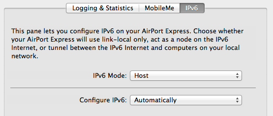 Under the advanced tab -> IPv6, IPv6 Mode should be set to Host.