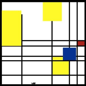The Painter's Cat Screenshot; a Mondrian-like image with a small pixel art cat on the bottom edge.