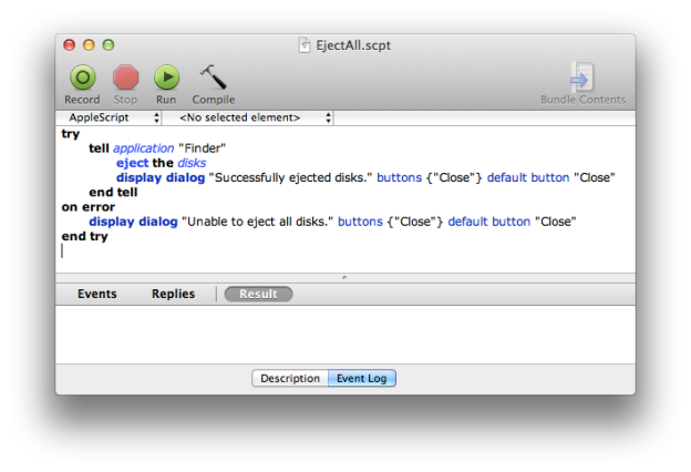 AppleScript Editor with the Eject All script