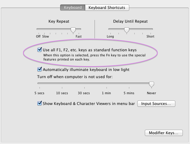 The Function (Fn) key is on the full-size Apple Keyboard